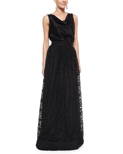Camellia Lace Gown Skirt, Liquid Satin Cowl-Neck Shell & Ombre Baguette Crystal Earrings
