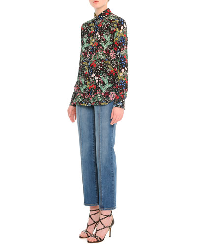 Floral-Print Charmeuse Button Blouse & Contrast-Stitched Flared Jeans