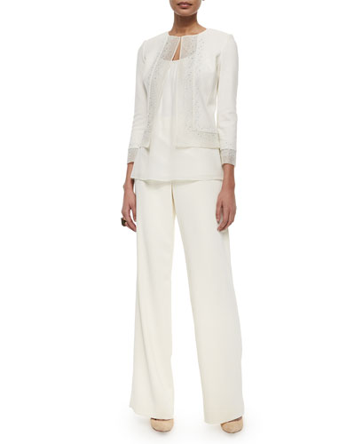 Beaded Organza-Trimmed Boucle Jacket, Gathered Scoop-Neck Tank Top, Classic Cady Wide-Leg Pants & Two-Tone Pearly Stud Ring
