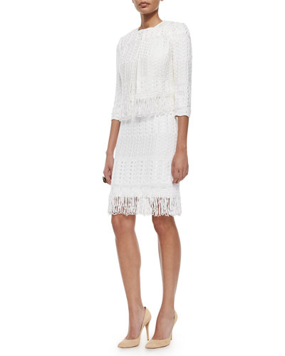 Cachet-Knit Fringe-Trimmed Jacket, Cachet-Knit Fringe-Trimmed Sheath Dress & Two-Tone Pearly Stud Ring