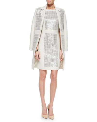 Sparkle Crinkle-Knit Paneled Jacket, Sparkle Crinkle-Knit Dress & Bangle Bracelets