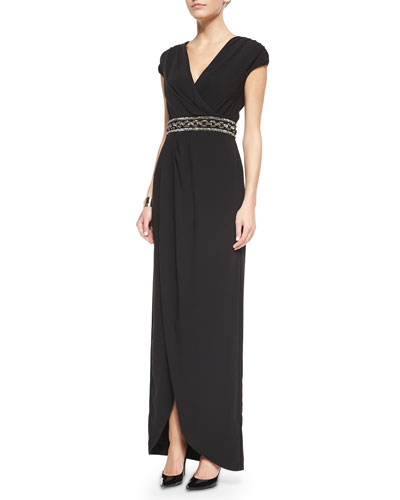 Luxe Crepe Cap-Sleeve Draped Gown & Two Tone Pearly Stud Cuff
