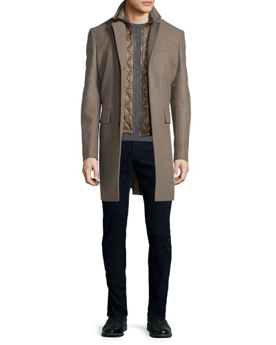 Lyndson Wool-Blend Coat with Removable Gilet, Drewett Long-Sleeve Wool Sweater & Five-Pocket Corduroy Pants