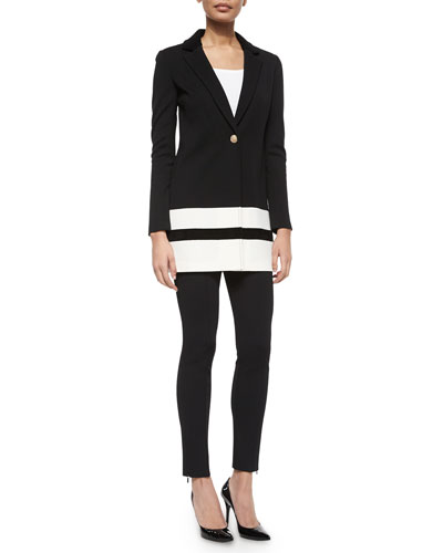 Contrast-Striped Velvet-Trimmed Blazer, Scoop-Neck Jersey Shell & Luxe Sculpture Knit Ankle Pants