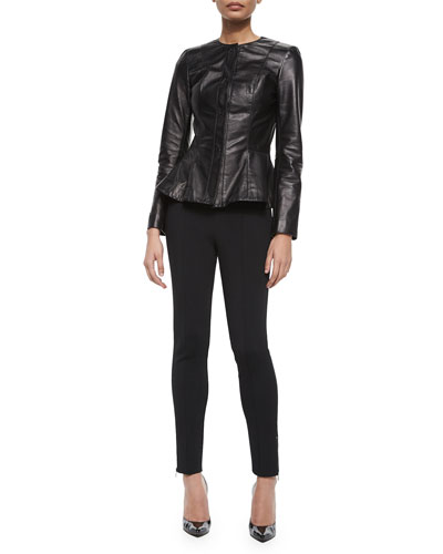 Luxe Napa Leather Peplum Jacket, Scoop-Neck Jersey Shell, Luxe Sculpture Knit Ankle Pants & Two-Tone Pearl Stud Ring