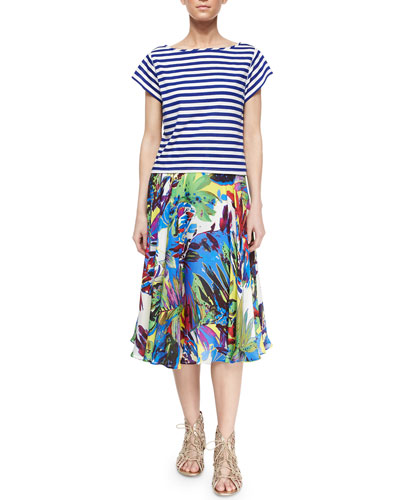 Riviera Short-Sleeve Striped Sailor Tee & Floral-Print Circle Skirt