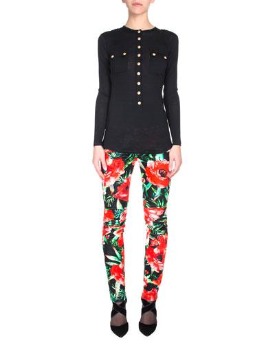 Button-Front Slub-Knit Henley & Floral-Print Biker Pants