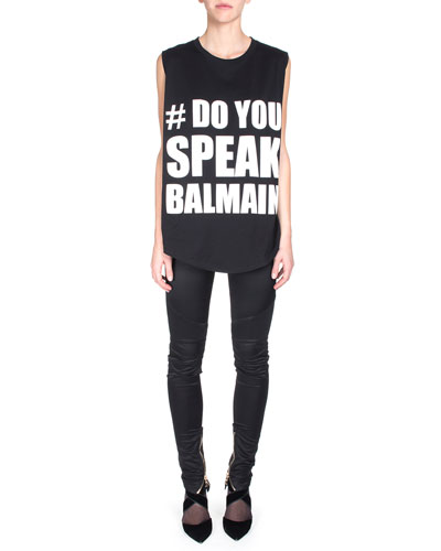 Do You Speak Balmain Sleeveless Tee & Satin Ankle-Zip Biker Pants