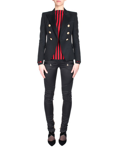 Classic Double-Breasted Jacket, Optic-Stripe Pullover & Satin Ankle-Zip Biker Pants