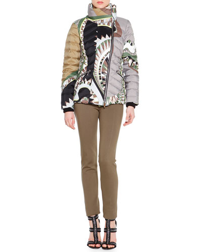 Printed Asymmetric-Zip Puffer Jacket, Printed Silk Lace-Up Keyhole Top & Zip-Pocket Punto Milano Leggings