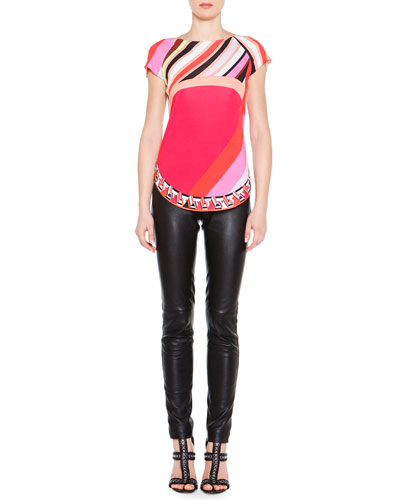 Short-Sleeve Printed Colorblock Top & Skinny Leather Side-Zip Trousers