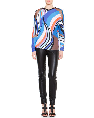 Long-Sleeve Printed Sheer Cutout Top & Skinny Leather Side-Zip Trousers