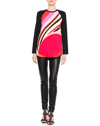 Long-Sleeve Printed Colorblock Tunic & Skinny Leather Side-Zip Trousers