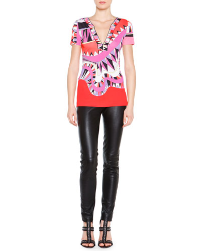 Kaleidoscope-Print Silk V-Neck Top & Skinny Leather Side-Zip Trousers