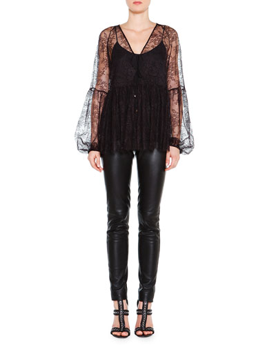 Long-Sleeve Lace Overlay Top & Skinny Leather Side-Zip Trousers
