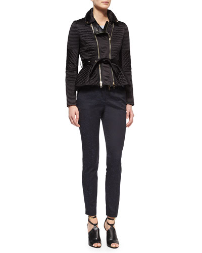 Quilted Biker Jacket with Belt, Cashmere Seamless Long-Sleeve Sweater & Leopard Jacquard Slim Trouser