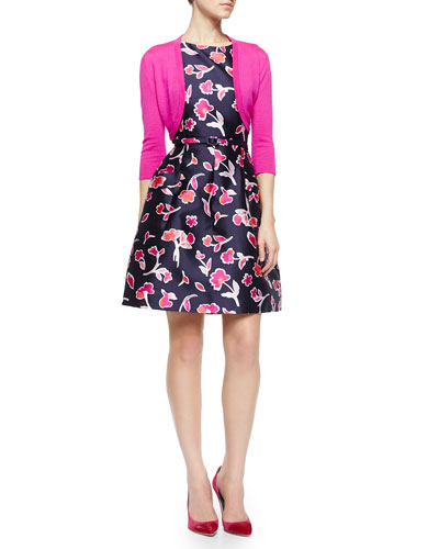 Cashmere-Blend Cropped Bolero & Floral Poppy-Print Dress