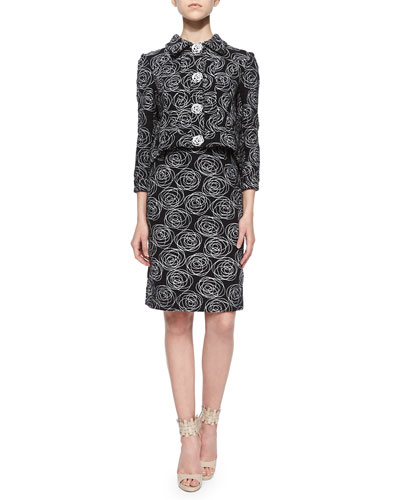 Rose Swirl Embroidered Tweed Jacket & Pencil Skirt