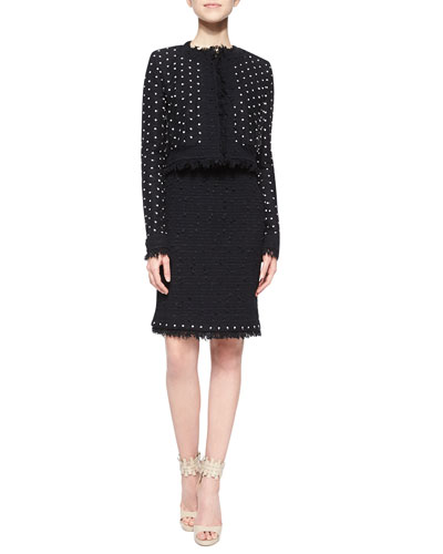 Dotted Tulle Fringe Tweed Jacket & Pencil Skirt