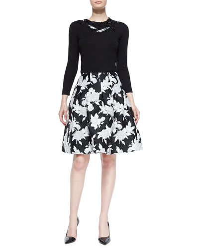 Leaf-Embellished Knit Sweater & Floral Jacquard Full Skirt