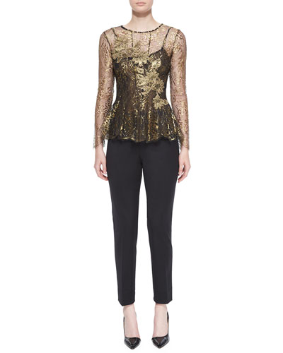 Long-Sleeve Lace Peplum Blouse & Wool Twill Slim Pants