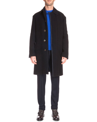 Oversized Cashmere Topcoat, Textured Crewneck Cashmere Sweater & Wool-Blend Jogger Pants