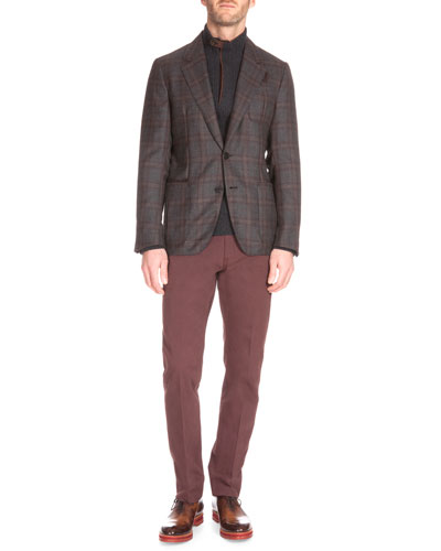 Plaid Two-Button Cashmere Jacket, Suede-Trim Quarter-Zip Cashmere Pullover & Five-Pocket Denim Pants