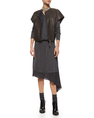 Short-Sleeve Leather Zip Jacket & Asymmetric-Underlay Knit Dress