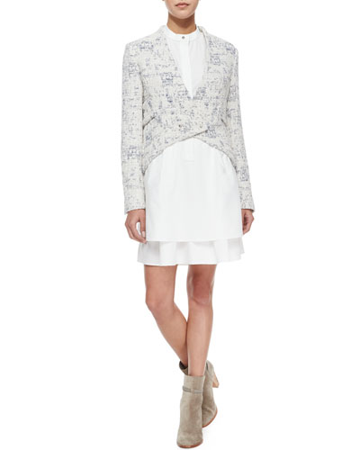 Cropped Angled-Front Jacket & Sleeveless Band-Detail Shirtdress