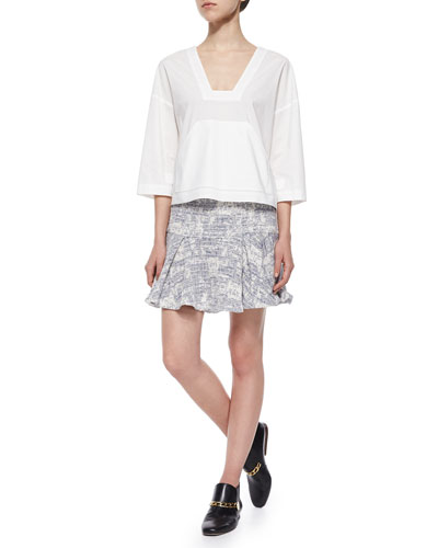 3/4-Sleeve Poplin Top & Cotton-Blend Flared Skirt