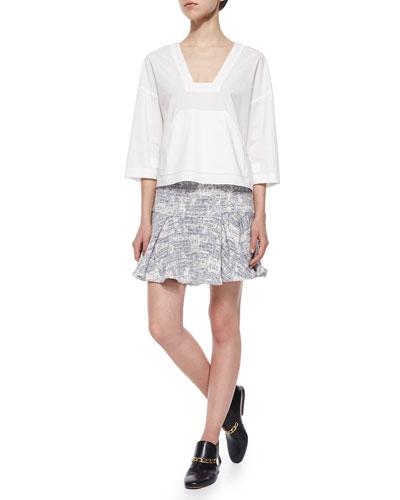 3/4-Sleeve Poplin Top & Cotton-Blend Flared Skirt