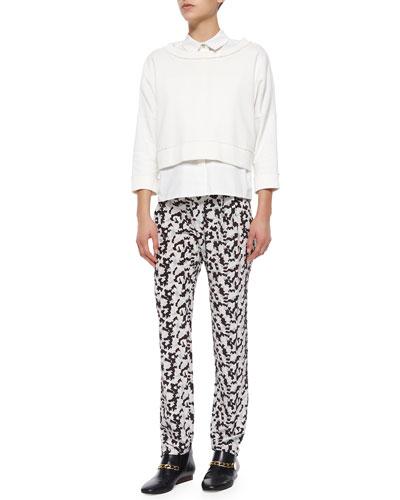 2-N-1 Solid Sweatshirt W/ Fringe & Printed Track Trousers