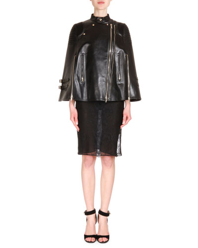 Leather Asymmetric-Zip Moto Cape & Semisheer Lace Sheath Dress