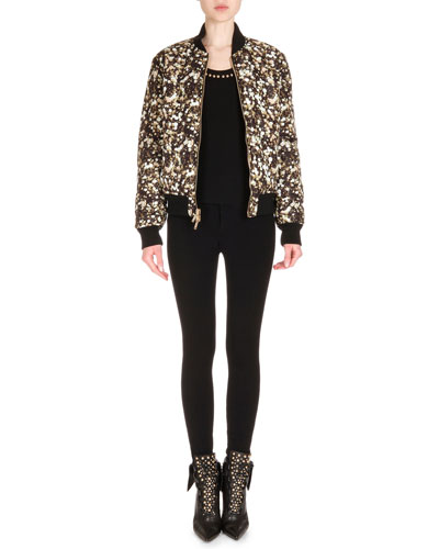 Reversible Bomber Jacket, Studded Wool Knit Top & Zip-Trimmed Jean Leggings