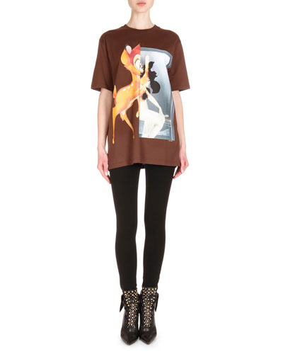 Bambi-Print Short-Sleeve T-Shirt & Zip-Trimmed Jean Leggings