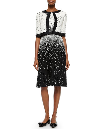 Half-Sleeve Boucle Crop Jacket & Sleeveless Dotted Dress