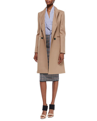 Double-Breasted Wool Twill Coat, Candy Striped Button Blouse & Plaid Check Tweed Pencil Skirt