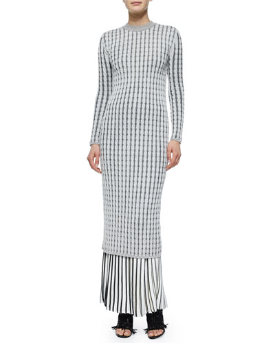 Long-Sleeve Cable-Knit Button-Back Dress & Pleated Long Knit Skirt