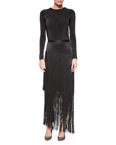 Long-Sleeve Backless Bodysuit & Silk Layered Fringe Skirt