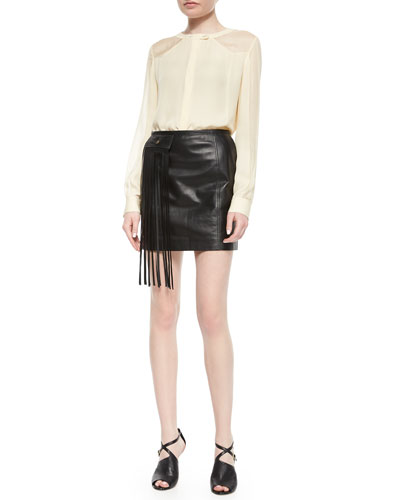 Neo Western Long-Sleeve Top & Lambskin Leather Mini Skirt W/ Fringe Pocket