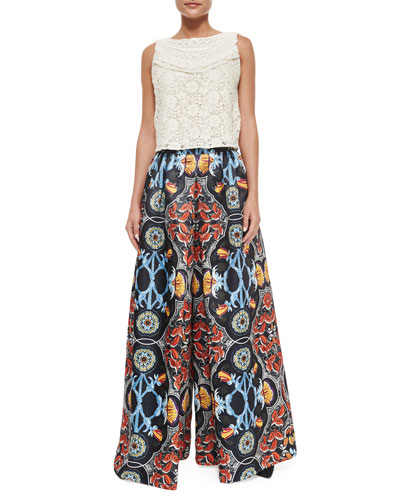 Finlay Fitted Sleeveless Crochet Top & Baroque-Print High-Waist Pants