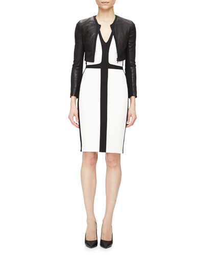 Leather/Crepe Zip-Front Crop Jacket & Cap-Sleeve Tricolor Sheath Dress