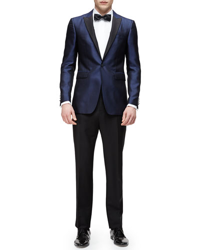 Peak-Lapel Silk Evening Jacket & Long-Sleeve Formal Tuxedo Shirt