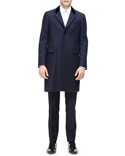 Single-Breasted Plaid Overcoat, Long-Sleeve Formal Tuxedo Shirt & Mini-Check Flat-Front Wool Trousers