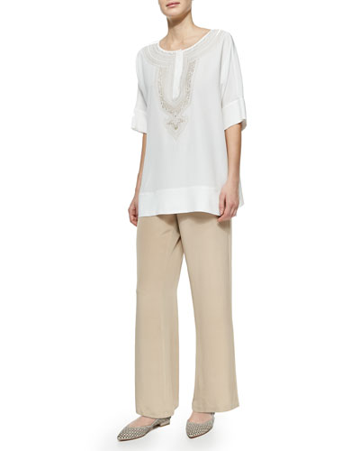 Embroidered Silk Tunic & Wide-Leg Silk Crepe Pants, Petite