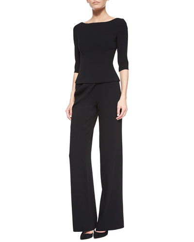 Gaspy Crepe Bateau-Neck Top & Gido Crepe Drape-Detail Pants, Black