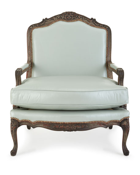 Bates Leather Bergere Chair