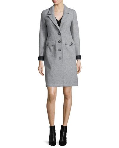 Steadleigh Melton Four-Button Coat & Short-Sleeve Pleated Dress