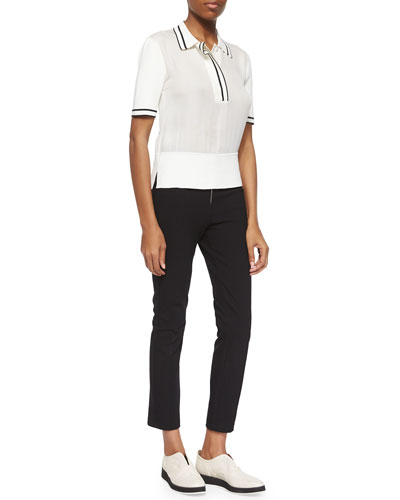 Dana Striped-Trim Polo & Perry Slim Ankle Pants