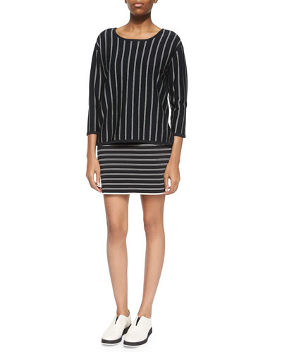 3/4-Sleeve-Sleeve Pullover & Regan Striped Pencil Skirt
